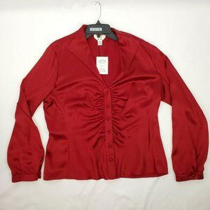 Talbots Pure Silk Women Blouse Size 16 Red